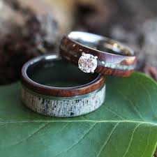 wood engagement rings unique wedding ring set antler wedding band wood engagement ring