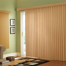 Blinds For Sliding Doors Ideas Interior Light Brown Panel Vertical Blinds Mixed With Green Wall