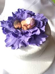 lavender baby shower cake topper baby on fondant peony flower
