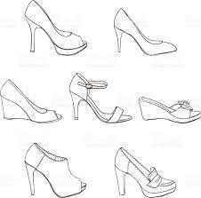 elegant hand sketch lady high heel shoes stock vector art