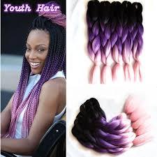 ombre senegalese twists braiding hair 1 10 pcs free shipping 24 100g black dark purple light pink ombre