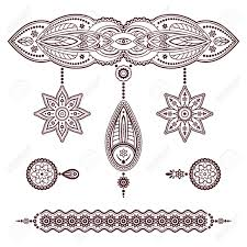 set of henna templates decorative doodle elements pendant