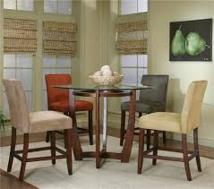 Tall Dining Room Sets by Round Counter Height Dining Table With Micro Suede Chair Set By