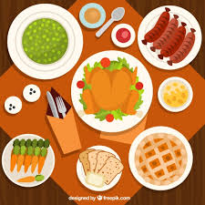 top view of thanksgiving dinner in flat design vector free