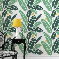 banana leaf allover stencil tropical themed wall designs for