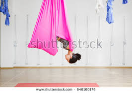 Exercise Upside Down Chair Woman Hanging Upside Down Stock Images Royalty Free Images