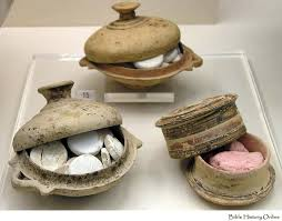 bowls for keeping tablets of make up powder and corinthian pyxis found in a tomb ancient romeancient greecemakeup
