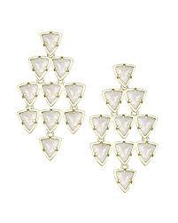 White Chandelier Earrings Vale Gold Chandelier Earrings In White Kendra Scott