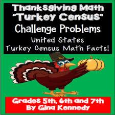 thanksgiving math challenge problem solving turkey census facts