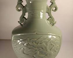 Chinese Celadon Vase On Sale Chinese Celadon Porcelain Vase Signed Long Neck Vase