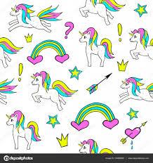 imagenes de unicornios en caricatura patrón sin fisuras con unicornios arco iris corazón corona y