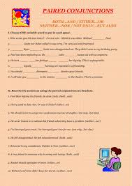 paired conjunctions interactive worksheet