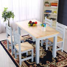natural wooden pine dinning table grey frame 4 chair set kitchen