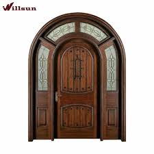 Wooden Main Door Traditional Indian Kerala Arch Wrought Iron Wooden Main Front Door