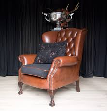Chesterfield Wing Armchair Exclusive English Chesterfield Wing Chair In Thick Waxed Saddle