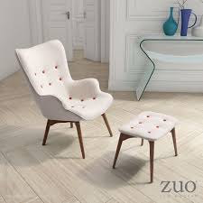 Occasional Chair Antwerp Occasional Chair U0026 Ottoman Cream 900062 Zuo Mod