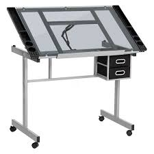 Walmart Drafting Table Best Choice Products Office Drawing Desk Station Tempered Glass