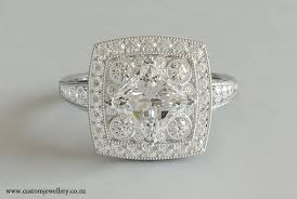 princess and round cut art deco ring in platinum new zealand