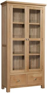 large bookcase with glass doors abbey oak display cabinet with glass doors