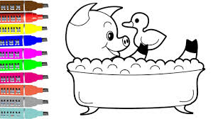 pig with duck take a bath coloring pages coloring book videos