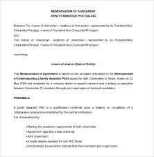 memorandum of agreement template u2013 10 free word pdf document