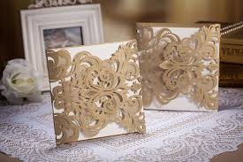 3d wedding invitations gold laser cut hollow out 3d wedding cards flower wedding