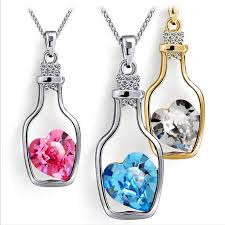 blue heart crystal necklace images Fabulous love drift drop bottles necklaces pendants for women jpg