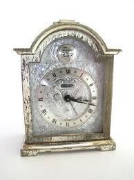 Large Silver Mantel Clock Vintage Swiza Silver Miniature Carriage Alarm Clock Winding