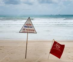 Beach Red Flag Warning Signs About Rip Current At A Beach U2014 Stock Photo