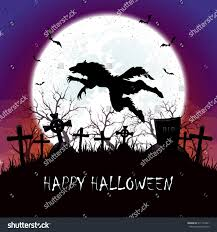 halloween graveyard background halloween background on graveyard werewolf jumps stock vector