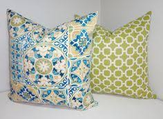 Patio Pillow Covers Outdoor Pillow Set Orange Green Yellow Floral U0026 Orange Geometric