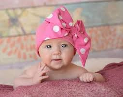 baby girl bows hot pink white polka dot bow cotton hat top knot baby hat