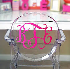 large decal monogram ghost acrylic chair 9 5 inches height