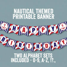 printable alphabet bunting banner nautical bunting printable happy birthday banner nautical