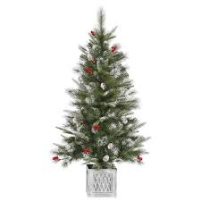 4 ft frosted pine cone berry potted artificial tree