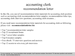 Sample Resume For Clerical Position by Accounting Clerk Recommendation Letter