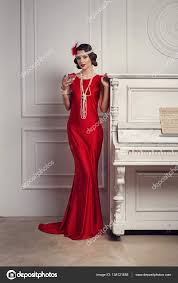 martini woman young beautiful in red dress style of the 20 u0027s or 30 u0027s with