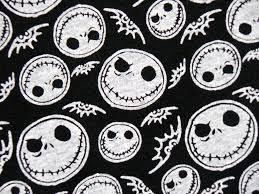 nightmare before skellington on black cotton jersey