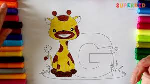 coloring letter g and a giraffe coloring pages for kids