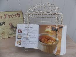 shabby chic cream metal recipe book holder stand music