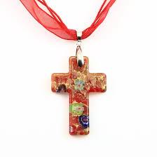 glass cross necklace images Christian cross pendants glitter millefiori lampwork murano glass jpg