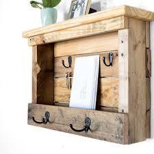 wood mail organizer entryway coat hooks from bydadanddaughter