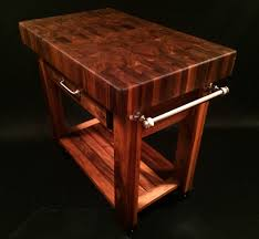 Powell Color Story Black Butcher Block Kitchen Island Black Walnut End Grain Butcher Block Cart 36x24x4 Inch Top