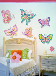 kids room interior wall decoration with kid wall decals for kids room colorful 3d butterfly wall decal sticker decor design idea white fabric bed sheet