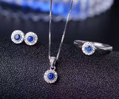 blue sapphire stone necklace images Natural blue sapphire jewelry sets natural gemstone ring pendant jpg