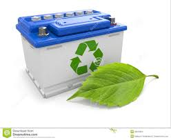 car battery with green recycle sign and leaf stock images image