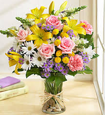 Flowers Glass Vase Mother U0027s Day Flower Gift With This Pretty Bright Yellow And Others