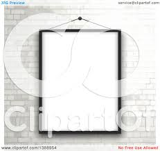 clipart of a black picture frame hanging over a white brick wall