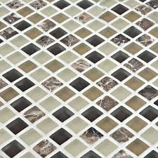 Glass Mosaic Tiles Emperador Stone Marble Tile Crystal Glass Tile - Stone glass mosaic tile backsplash