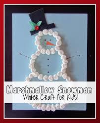 marshmallow snowman winter craft for